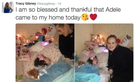 Adele visits sick girl, mom tweets about it