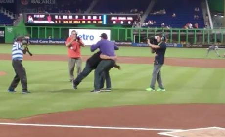 Bill Goldberg Throws Out First Pitch, Spears Baseball Fan