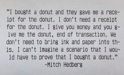 Mitch Hedberg Immortalized on Epic Donut Shop Receipt