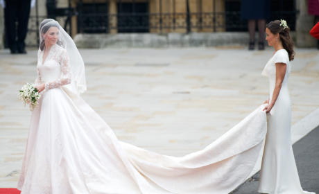 Kate Middleton Looks Back At Crowds On Her Wedding Day