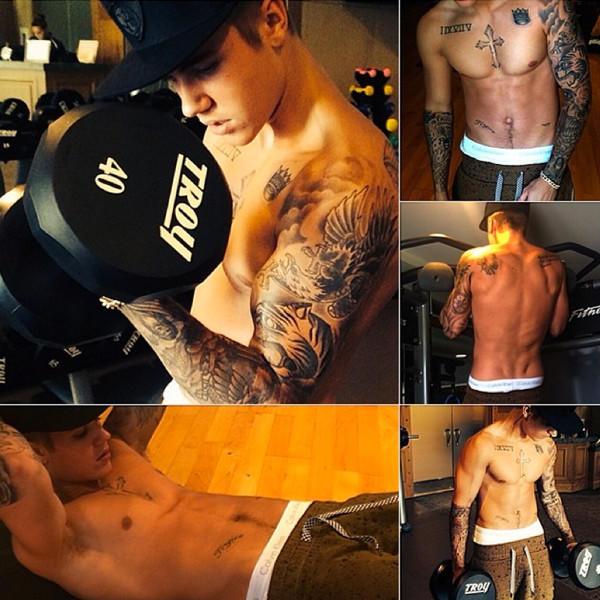 Justin Bieber Workout Pics