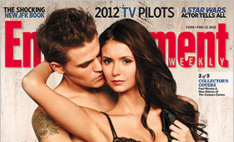 Paul Wesley and Nina Dobrev EW Cover
