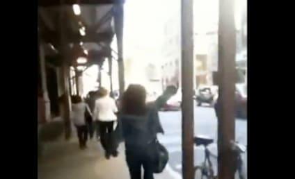 Bag Lady Walks Obliviously Through New York