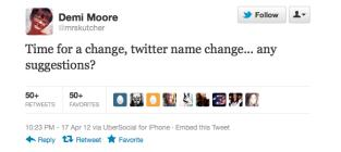What Twitter handle should Demi Moore now use?