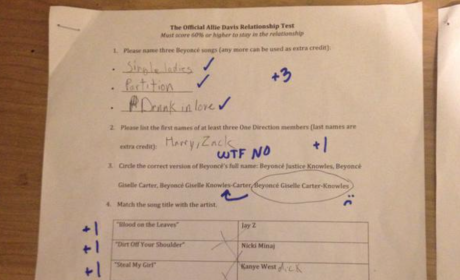 Girlfriend Makes Boyfriend Take Beyonce Exam: Did He Pass?