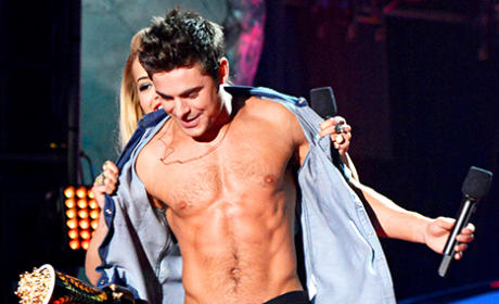 Zac Efron Wins Shirtless Award, Gets Stripped by Rita Ora at MTV Movie Awards