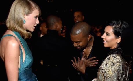 Taylor Swift, Kanye West, and Kim Kardashian