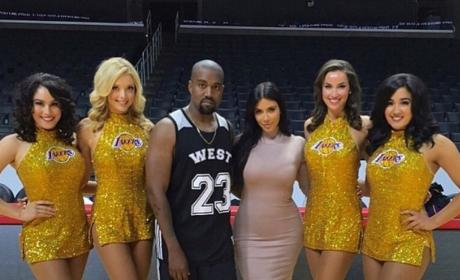 Kim Kardashian, Kanye West and The Laker Girls