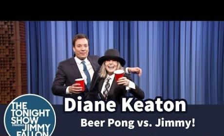 Diane Keaton Plays Beer Pong with Red Wine on The Tonight Show