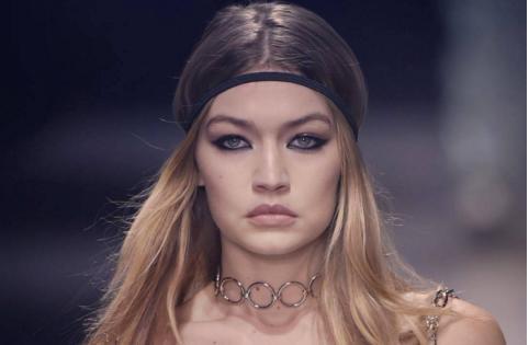 Gigi Hadid at the Versace runway show