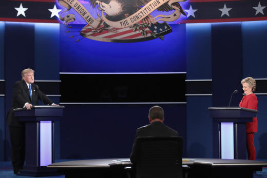 Image result for trump and clinton debate stage