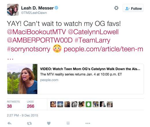 Leah Messer Tweets About Teen Mom OG