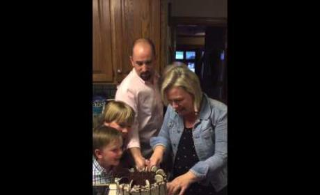 Mom of Six Boys Freaks When Cutting Into Gender Reveal Cake For Baby #7: Watch!