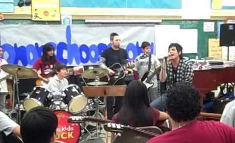 Adam Lambert Sings with Students