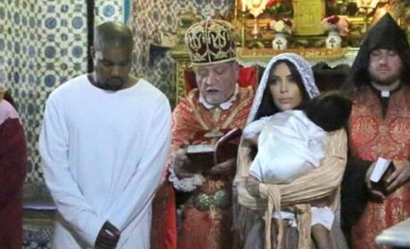 Kanye West and Kim Kardashian Baptism Pic