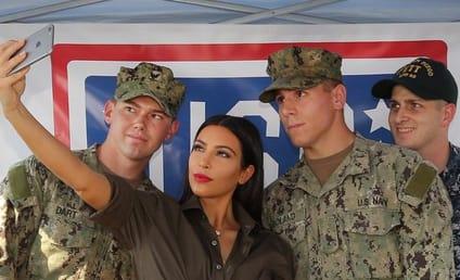 Kim Kardashian Supports the Troops, Snaps Selfie in Dubai