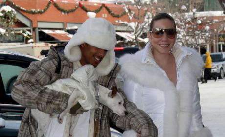 Mariah Carey and Nick Cannon Walk in a Winter Wonderland