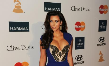 Kim Kardashian Blue Cleavage Dress Clive Davis Pre-Grammy Gala
