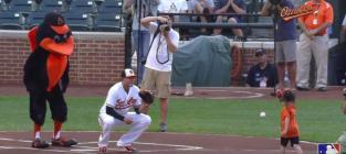 5-Year Old Uses Prosthetic Hand to Throw Out First Pitch