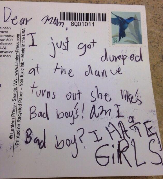 Kid Laments Breakup on Postcard Home