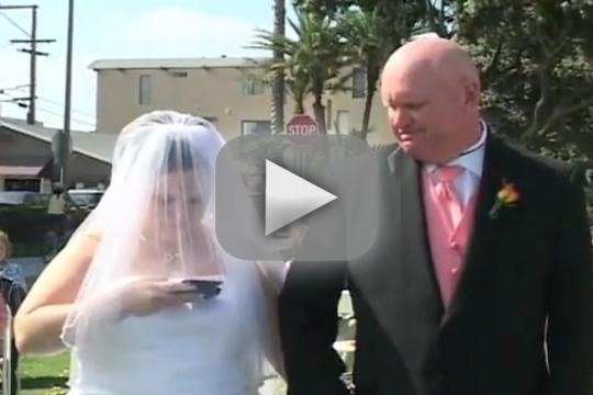 Bride Answers Cell Phone During Wedding