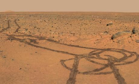 Mars Rover Channels Inner 12-Year-Old, Defaces Red Planet