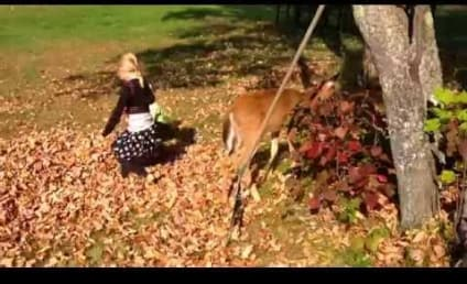 Little Girls Play in Leaf Pile with Baby Deer, Prepare Folks for Fall