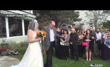 Father Rises from Wheelchair, Walks Daughter Down the Aisle