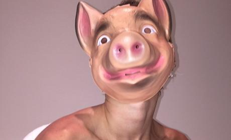 Miley Cyrus as a Pig