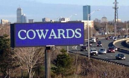 Cowards Billboard Lights Up Boston in Wake of Attacks