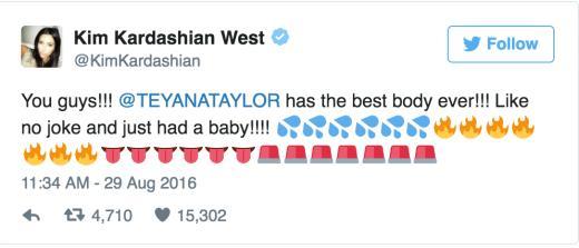 Kim Kardashian Praises Teyana Taylor