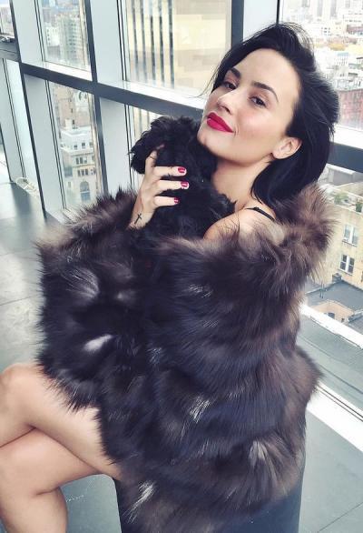 Demi Lovato Wears Fur