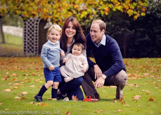 William, Kate, George and Charlotte's 2015 Christmas Photo