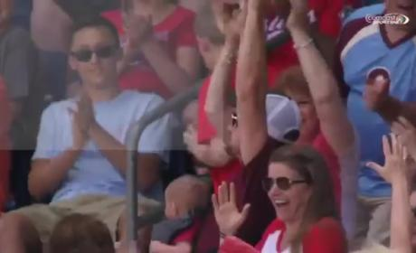 Father Snags Foul Ball with Baby Affixed to Chest