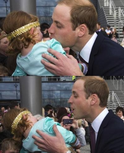 Prince William Kisses Baby