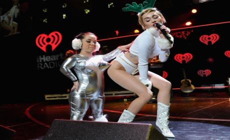 "Miley Cyrus Dresses Like Scantily-Clad Reindeer, Performs ""Wrecking Ball"""