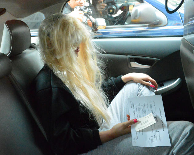 Amanda Bynes in a Car