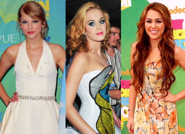 Taylor Swift, Miley Cyrus and Katy Perry