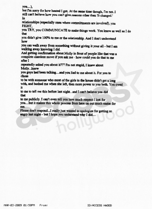 Jason Mesnick-Melissa Rycroft Email: Part IV