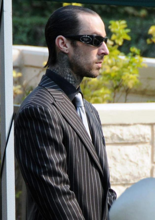 Travis Barker at DJ AM Funeral