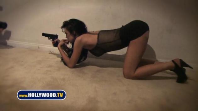 Lindsay Lohan with a Gun