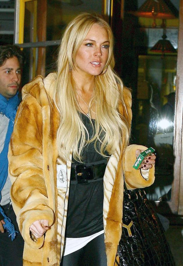 Lindsay Lohan Fur Coat