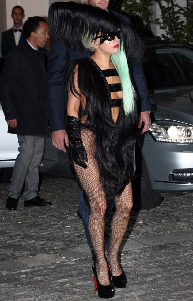 Lady Gaga Nude Leather Dress