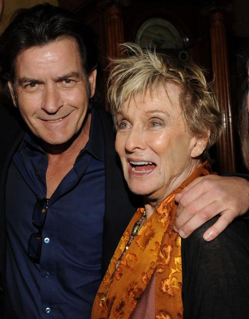 Charlie Sheen and Cloris Leachman