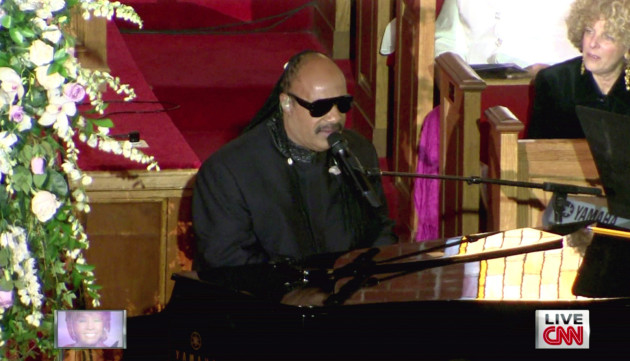 Stevie Wonder at Whitney's Funeral