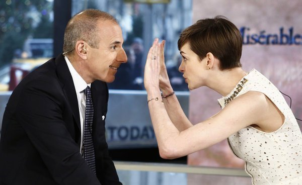 Matt Lauer and Anne Hathaway