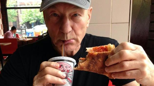 Patrick Stewart Pizza Eating