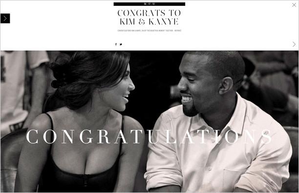 Beyonce Congratulates Kimye