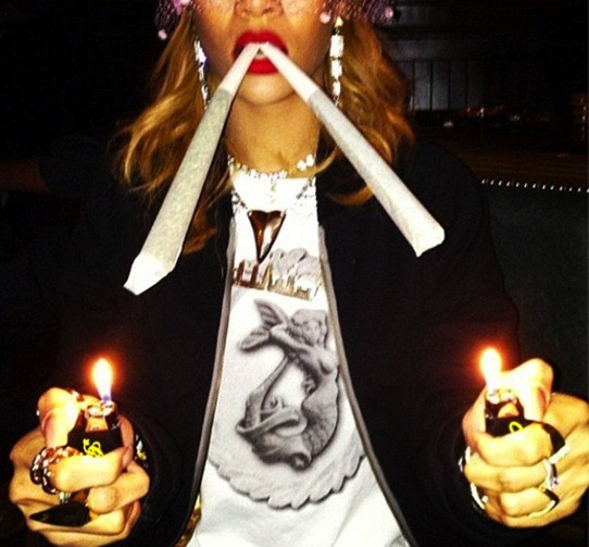 Rihanna Smokes Up