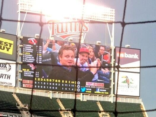 Patrick Renna and Chauncey Leopardi on Jumbotron
